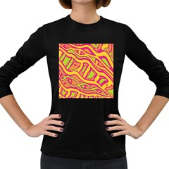 Orange hot abstract art Women s Long Sleeve Dark T-Shirts
