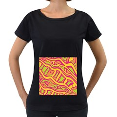 Orange hot abstract art Women s Loose-Fit T-Shirt (Black)