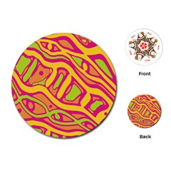 Orange hot abstract art Playing Cards (Round)