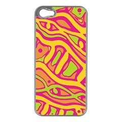 Orange hot abstract art Apple iPhone 5 Case (Silver)
