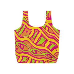 Orange hot abstract art Full Print Recycle Bags (S)
