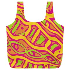 Orange hot abstract art Full Print Recycle Bags (L)