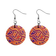Orange Decorative Abstract Art Mini Button Earrings