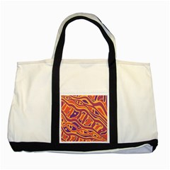 Orange decorative abstract art Two Tone Tote Bag