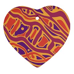 Orange decorative abstract art Heart Ornament (2 Sides)