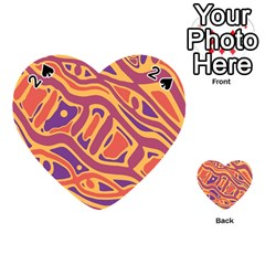 Orange decorative abstract art Playing Cards 54 (Heart)