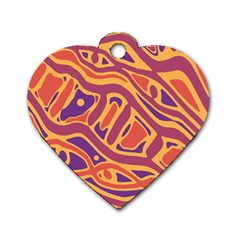Orange decorative abstract art Dog Tag Heart (One Side)