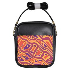 Orange decorative abstract art Girls Sling Bags
