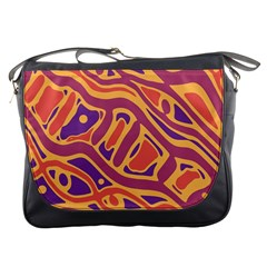 Orange decorative abstract art Messenger Bags