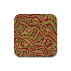 Brown abstract art Rubber Coaster (Square)