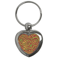 Brown abstract art Key Chains (Heart)