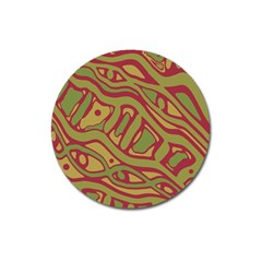 Brown abstract art Magnet 3  (Round)
