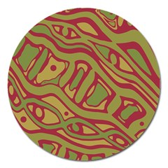 Brown abstract art Magnet 5  (Round)