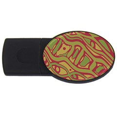 Brown abstract art USB Flash Drive Oval (1 GB)