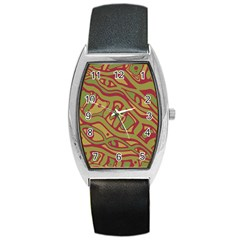 Brown abstract art Barrel Style Metal Watch