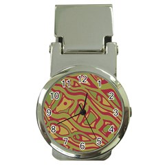 Brown abstract art Money Clip Watches