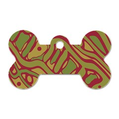 Brown abstract art Dog Tag Bone (One Side)