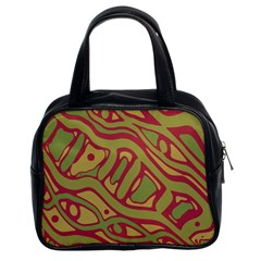 Brown abstract art Classic Handbags (2 Sides)