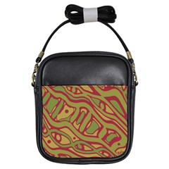 Brown abstract art Girls Sling Bags