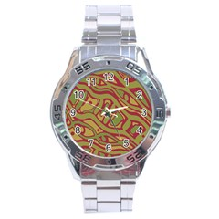 Brown abstract art Stainless Steel Analogue Watch