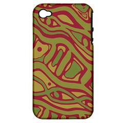 Brown abstract art Apple iPhone 4/4S Hardshell Case (PC+Silicone)