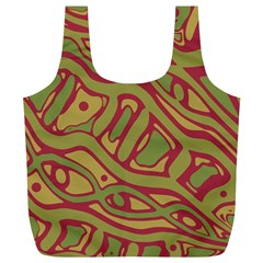 Brown abstract art Full Print Recycle Bags (L)