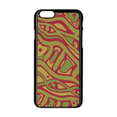 Brown abstract art Apple iPhone 6/6S Black Enamel Case