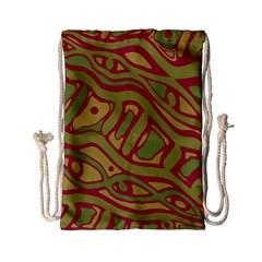 Brown abstract art Drawstring Bag (Small)