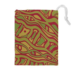 Brown Abstract Art Drawstring Pouches (extra Large)