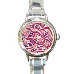 Pink and purple abstract art Round Italian Charm Watch