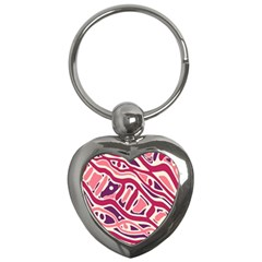 Pink and purple abstract art Key Chains (Heart)