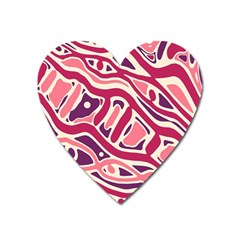 Pink and purple abstract art Heart Magnet