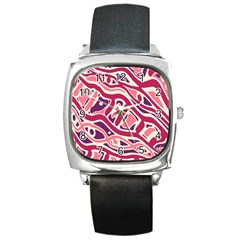 Pink and purple abstract art Square Metal Watch