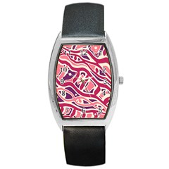 Pink and purple abstract art Barrel Style Metal Watch