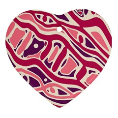 Pink and purple abstract art Heart Ornament (2 Sides)