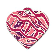 Pink and purple abstract art Dog Tag Heart (Two Sides)