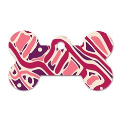 Pink and purple abstract art Dog Tag Bone (One Side)
