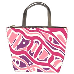 Pink and purple abstract art Bucket Bags