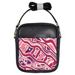 Pink and purple abstract art Girls Sling Bags