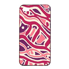 Pink and purple abstract art Apple iPhone 4/4s Seamless Case (Black)