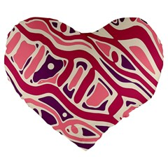 Pink and purple abstract art Large 19  Premium Heart Shape Cushions