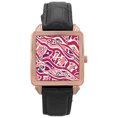 Pink and purple abstract art Rose Gold Leather Watch