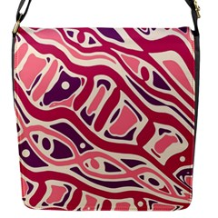 Pink and purple abstract art Flap Messenger Bag (S)
