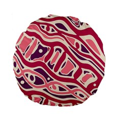 Pink and purple abstract art Standard 15  Premium Flano Round Cushions