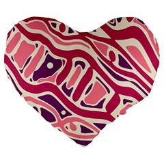 Pink and purple abstract art Large 19  Premium Flano Heart Shape Cushions