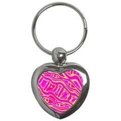 Pink abstract art Key Chains (Heart)