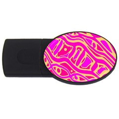 Pink abstract art USB Flash Drive Oval (2 GB)