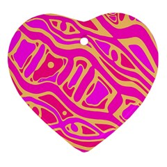 Pink abstract art Heart Ornament (2 Sides)