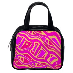 Pink abstract art Classic Handbags (One Side)