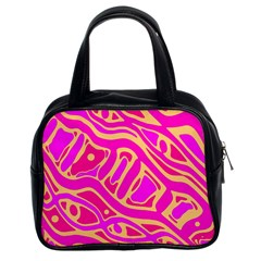 Pink abstract art Classic Handbags (2 Sides)